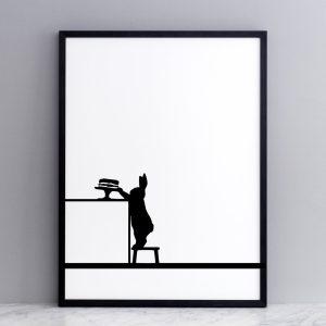 Framed Cake Loving Rabbit Print