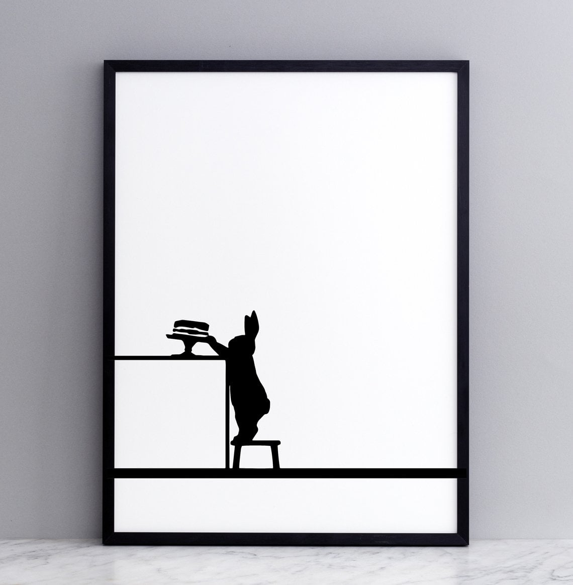 Cake Loving Rabbit Print with Frame