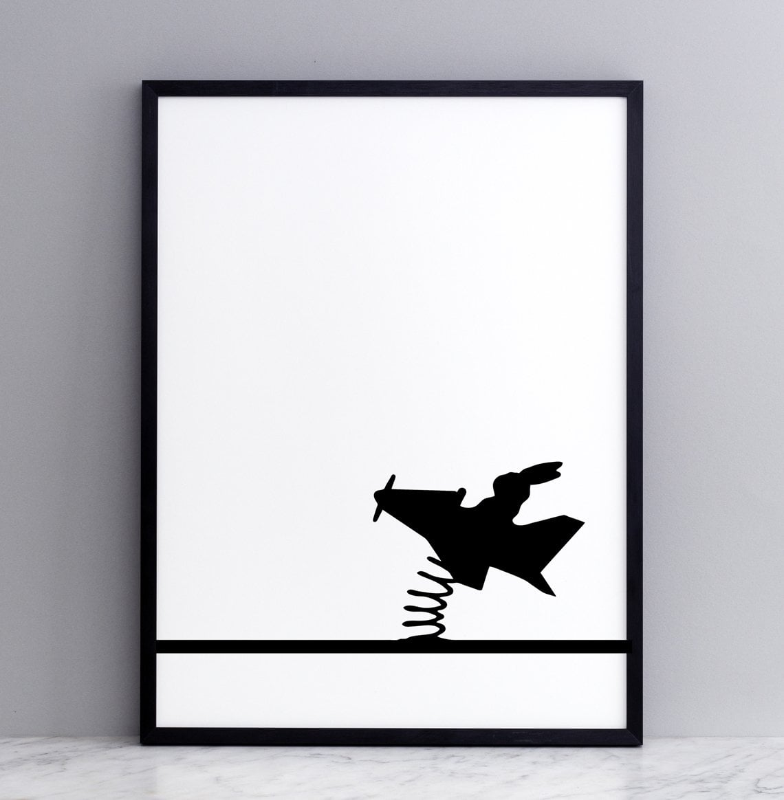 Flying Rabbit Print with Frame