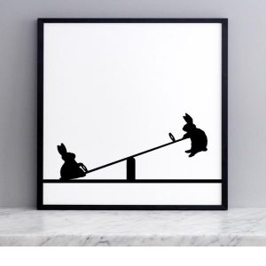 Seesawing  Rabbit Print with Frame