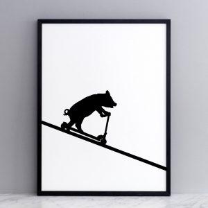 Framed Scooting Pig Print