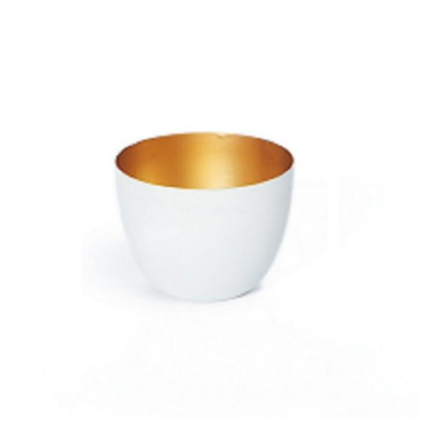 Gold Inlay Candle Holder White