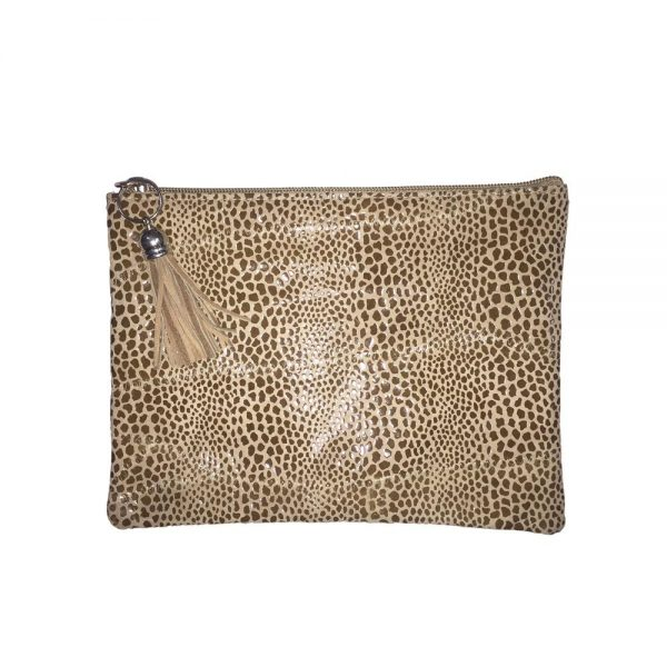 Cobra Printed Leather Clutch Bag