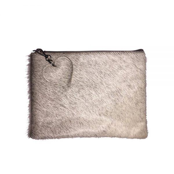 Grey Cow Hide Clutch Bag