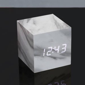 Cube Marble Click Clock White LED