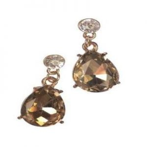 Gold Earrings With Mirror Drop
