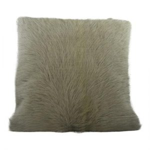 Grey Goat Skin Square Cushion