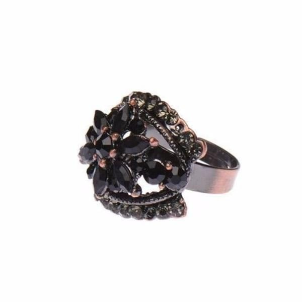 Antique Copper Tone Ring with Black Crystals