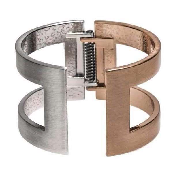 Brushed Silver and Rose Gold Cuff Bracelet