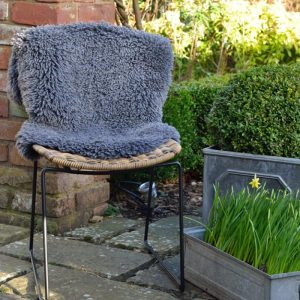 Large Curly Sheepskin Rug Dark Grey