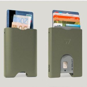 Walter Wallet Cards Holder Olive Green Aluminium