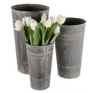 Florist Buckets - Set of 3 Zinc