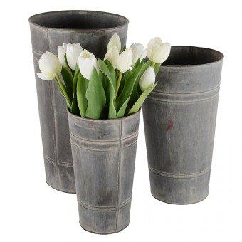 Florist Buckets – Set of 3 Zinc