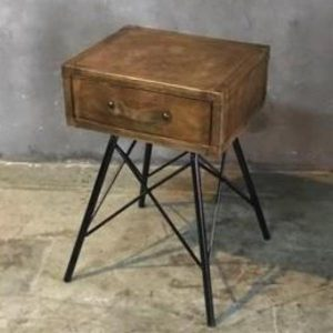 Leather Bedside Table with Drawer