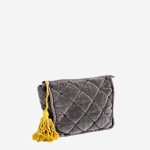 Grey Quilted Velvet Clutch Bag Medium