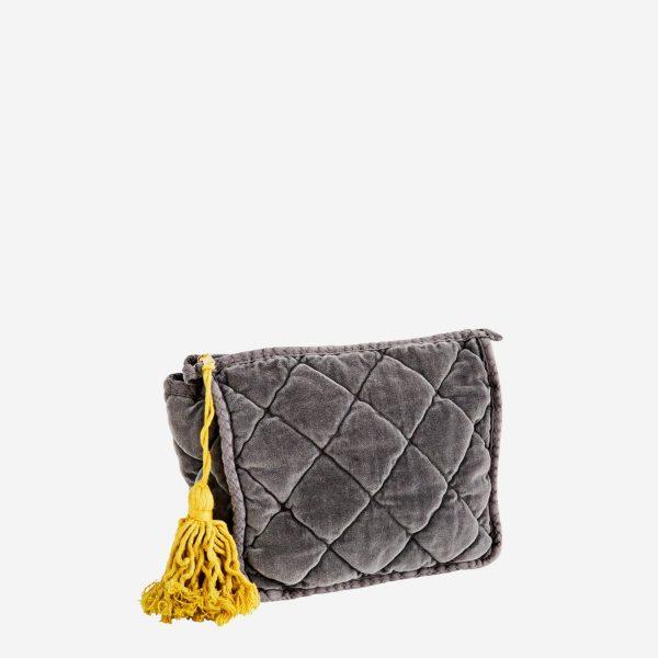 Grey Quilted Velvet Clutch Bag Medium