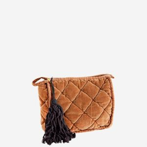 Caramel Quilted Velvet Clutch Bag Medium