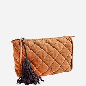 Rust Quilted Velvet Clutch Bag