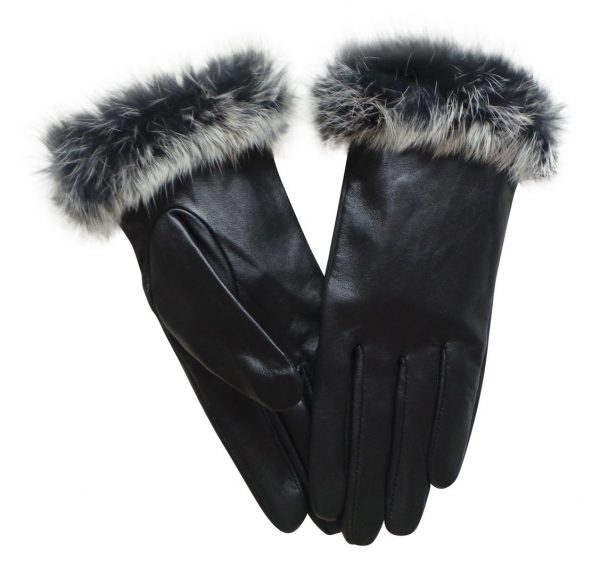 Fur Cuff Glove Black Medium