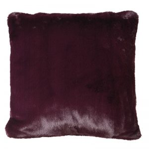 Wine Faux Fur Cushion Cover