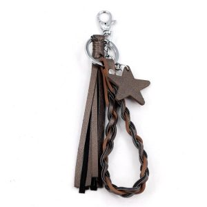 Tassel Plait & Star Keyring Coffee