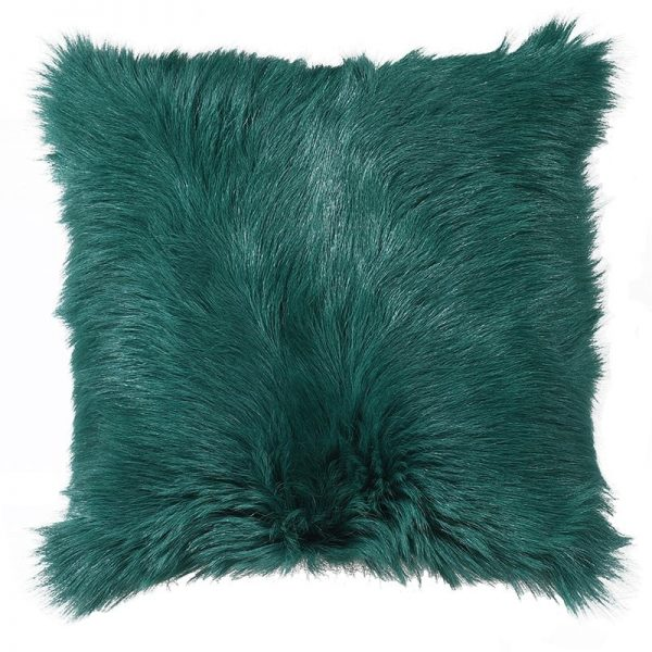 Vintage Green Goat Fur Cushion