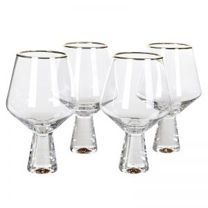Gold Rim Tulip Wine Glass