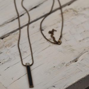 Snake Chain Effect Necklace with Matt Coffee Gold Bar