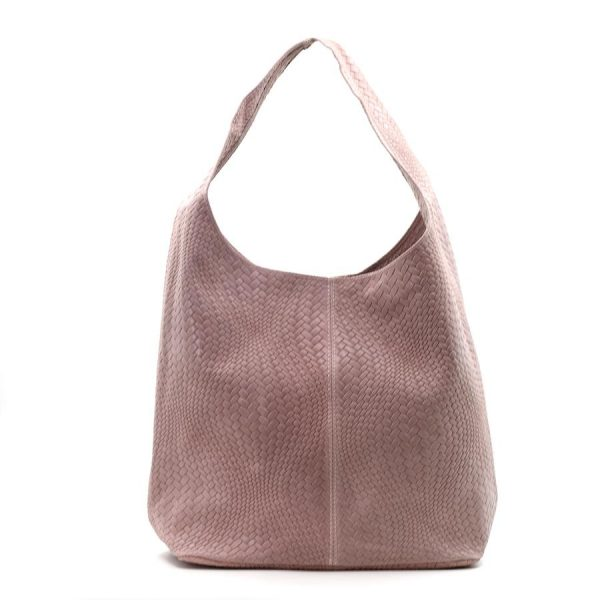 Woven Patterned Italian Leather Handbag Baby Pink