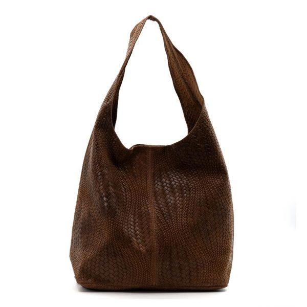 Woven Patterned Italian Leather Handbag Brown