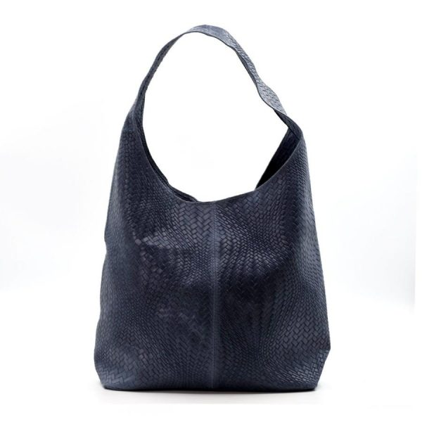 Woven Patterned Italian Leather Handbag Dark Blue