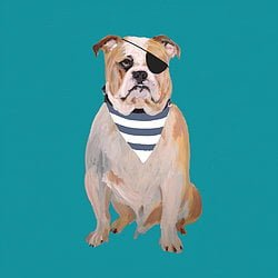 Mr Vamps Dog Print Greetings Card
