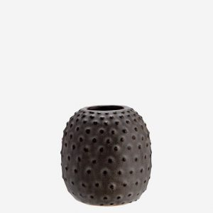 Grey Stoneware Vase with Dots