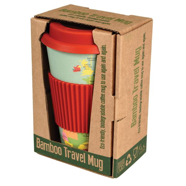 Bamboo World Map Travel Mug