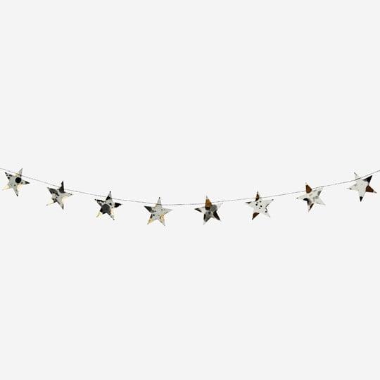 White, Black & Gold Star Garland