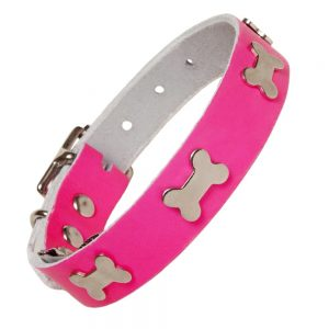 Leather Neon Dog Collar Pink (neck size 40 - 51cm).