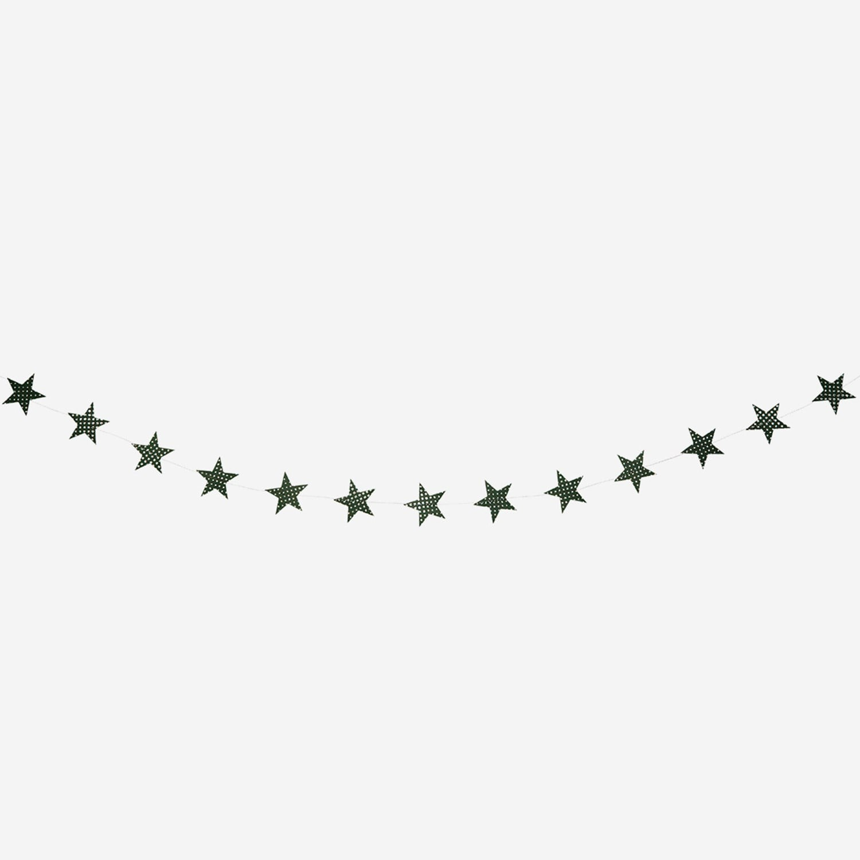 Green & Gold Glitter Star Garland
