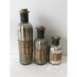 Decorative Set of 3 Glass Bottles