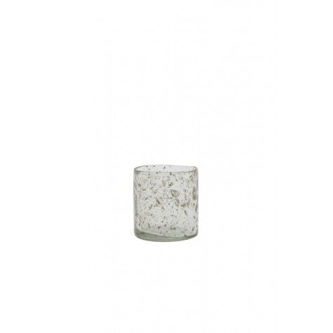 Clear Finish Stone Effect Glass Tea Light