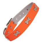 Leather Neon Orange Dog Collar (Neck Size 25 to 35cm)