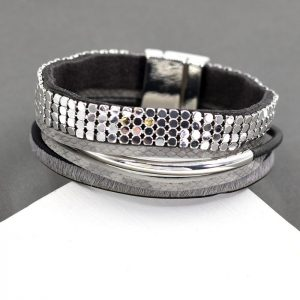 Chain Mail Tube & Grey Textured Strand Cuff