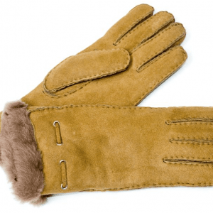 Light Brown Ladies Sheepskin Glove with Cuff Corded Detail