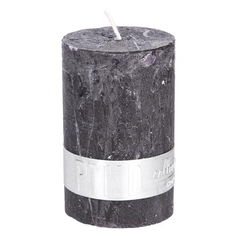 PTMD Rustic Dark Shades Pillar Candle (8x5cm) Small Charcoal Black