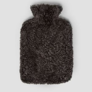 Anthracite Curly Short Wool Hot Water Bottle