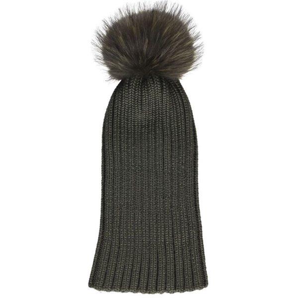 Khaki Sheila Wool Hat with Racoon Pom Pom