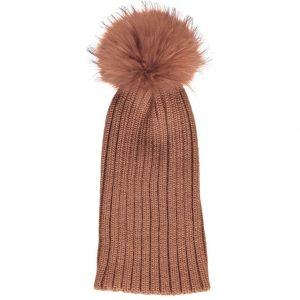 Rust Sheila Wool Hat with Racoon Pom Pom