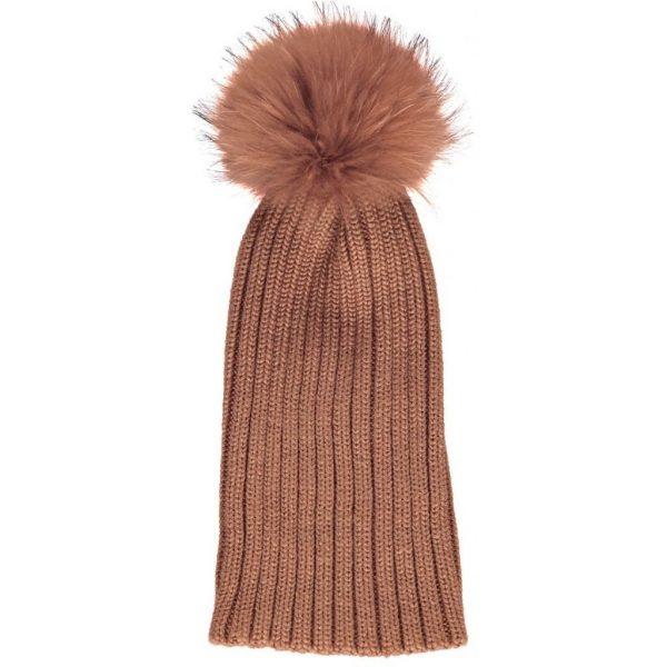 Rust Sheila Wool Hat with Racoon Pom Pom