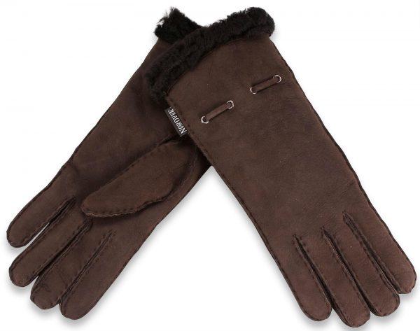 Ladies Sheepskin long glove with metal eyelets