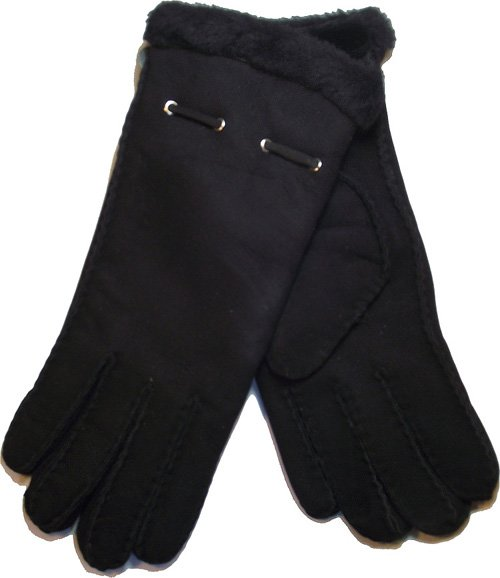 Ladies Sheepskin long glove with metal eyelets