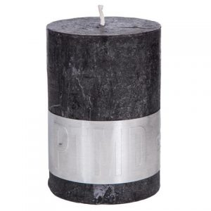 PTMD Rustic Dark Shades Pillar Candle (10x7cm) Large Charcoal Black